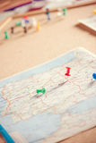 Travel destination points on a map, filtered Royalty Free Stock Photos