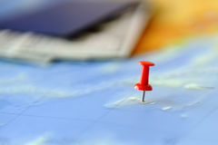 Travel destination points on a map Stock Photo