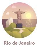 Travel destination Rio de Janeiro icon. Vector icon representing Rio de Janeiro as a travel destination stock illustration