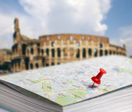 Travel destination Rome map push pin blur Royalty Free Stock Images