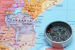 Travel destination Tanzania, map with compass Stock Image