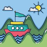 Travel destination to vacation and adventure tourism. Vector illustration royalty free illustration