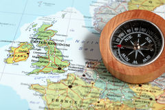 Travel destination United Kingdom and Ireland, map with compass Royalty Free Stock Photo