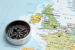 Travel destination United Kingdom and Ireland, map with compass Stock Image