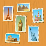 Travel destinations atamps. An amazing  illustration of world famous travel destinations Stock Photos