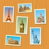 Travel destinations atamps. An amazing illustration of world famous travel destinations vector illustration