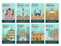Travel destinations card. Landmarks banner in vector. vector illustration