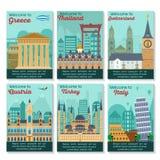 Travel destinations card. Set of different cities for travel. Landscape template flyer. Landmarks banner in vector. Travel destinations cards. Greece, Thailand vector illustration