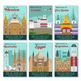 Travel destinations card. Set of different cities for travel. Landscape template flyer. Landmarks banner in vector. Travel destinations cards. Mexico, Croatia stock illustration
