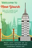 Travel destinations card. Trip to New York. Landmarks banner in vector. Travel destinations card. Trip to New York. Landscape template of world places of stock illustration