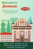 Travel destinations card. Trip to Slovenia. Landmarks banner in vector. Travel destinations card. Trip to Slovenia. Landscape template of world places of vector illustration