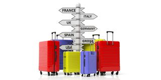 Bright colors suitcases and countries destinations pole isolated on white background. 3d illustration. Travel destinations concept. Bright colors suitcases and royalty free illustration