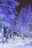 Travel Destinations Concepts. Traditional Nordic Suomi Houses. Over the Polar Circle in Finland at Christmas Time. Located in Front of Amazing Winter Forest Stock Images