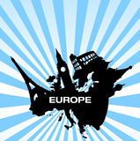 Travel destinations in europe stock illustration