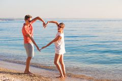 Happy young couple relaxing at Garda lake. Italy, Europe stock photo