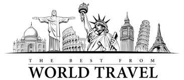 Travel destinations-famous placesNYC, London Big Ben, Rome-Coliseum, Paris-Eiffel Tower, Rio de Janeiro-Jesus Statue, NYC-Statue o. Travel destinations-famous royalty free illustration