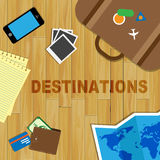Travel Destinations Indicates Journeys Travelling And Sightseein Stock Photos