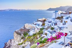 Travel Destinations. Picturesque Breathtaking View of Caldera Volcanic Slope of Oia Village in Santorini Island in Greece. Horizontal Image Composition stock image