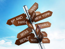 Travel destinations signpost. With city names stock illustration