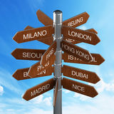 Travel destinations signpost Royalty Free Stock Photography