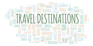 Travel Destinations word cloud. stock illustration