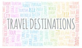 Travel Destinations word cloud. Wordcloud made with text only stock illustration