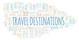 Travel Destinations word cloud. Wordcloud made with text only vector illustration