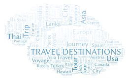 Travel Destinations word cloud. royalty free illustration