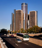 Travel Detroit. Park view of Ren Center downtown Detroit and Traffic royalty free stock images