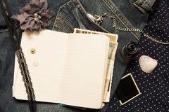 Travel diary Stock Photo