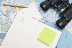 Travel Diary. With blank sheets and notes Stock Images