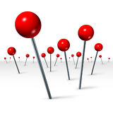 Travel Direction Location Concept. With red pushpins in perspective as a tourism and traveling symbol showing the journey concept of marking a location to help Royalty Free Stock Photos