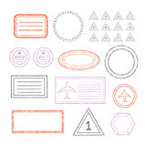 Travel Document And Blank Stamps Set. Travel Document And Blank Grunge Stamps Set royalty free illustration