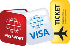 Travel documents. Passport and travel documents as an illustration Stock Images