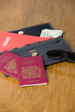 Travel documents. Wallet with passports, tickets and travellers checks Royalty Free Stock Photography