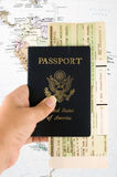 Travel documents. Passport and air ticket Royalty Free Stock Images