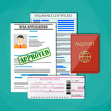 Travel documents concept. International passport, approved visa application, insurance certificate and boarding pass ticket. Travel concept. Vector illustration Stock Photography