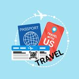 Travel Documents Icon Id Passport And Ticket On Plane. Flat Vector Illustration Stock Photography
