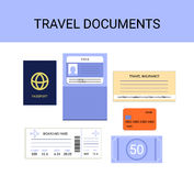 Travel documents infographics vector set - passport, visa, insurance, money, boarding pass Royalty Free Stock Image