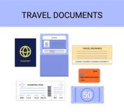 Travel documents infographics vector set - passport, visa, insurance, money, boarding pass. Travel documents vector set, flat style vector collection Royalty Free Stock Image