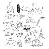 Travel Doodle Drawing Stock Images