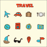 Travel doodle icons Royalty Free Stock Photos