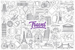 Travel doodle set with purple lettering Royalty Free Stock Image