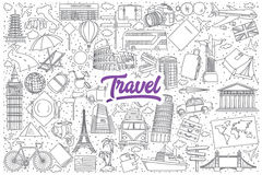 Travel doodle set with purple lettering Stock Photo