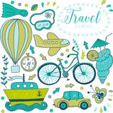 Travel doodles elements.  Vacation design Bicycle car, plane, flight.  Vector illustration. Royalty Free Stock Images