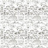 Travel doodles objects seamless pattern Stock Photo