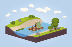 Travel down the river on a raft Royalty Free Stock Image