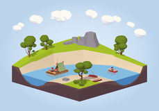 Travel down the river on a raft and punt Royalty Free Stock Photography