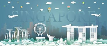 Travel downtown singapore architecture culture at marina bay sands. Skyline in singapore with iconic modern building merlion, Traveling with balloon and stock illustration