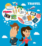 Travel dreams scene. Business life cheerful woman and man with speech bubble travel dreams scene vector illustration Stock Photo